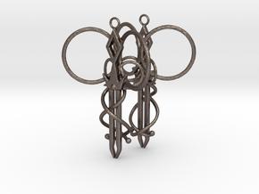 Royal Aura Sword Earrings in Polished Bronzed Silver Steel