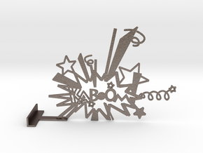 Waiting For KABOOM Phone Stand - L in Polished Bronzed Silver Steel