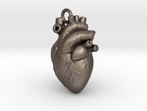 Anatomical human heart in Polished Bronzed Silver Steel