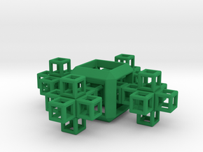 SCULPTURE COLLECTION 4 Crosses 1 HyperCube in Green Processed Versatile Plastic