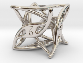 Curlicue 6-Sided Dice in Rhodium Plated Brass