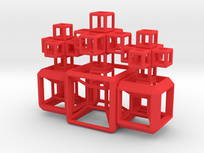 SCULPTURE COLLECTION: 3 HyperCubes 3 Crosses in Red Strong & Flexible Polished
