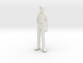 1/24 Modern Wear Curly Hair Man Standing 1.8 m  in White Natural Versatile Plastic