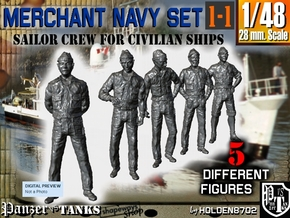 1-48 Merchant Navy Crew Set 1-1 in Smooth Fine Detail Plastic