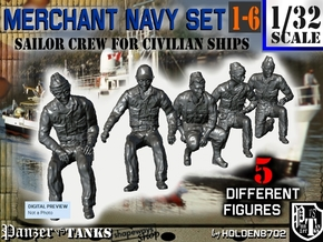 1-32 Merchant Navy Crew Set 1-6 in Smooth Fine Detail Plastic