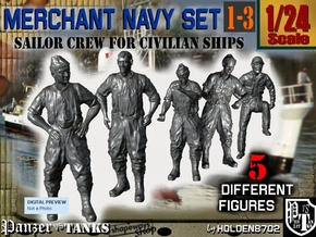 1-24 Merchant Navy Crew Set 1-3 in White Natural Versatile Plastic