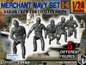 1-24 Merchant Navy Crew Set 1-6 in White Natural Versatile Plastic