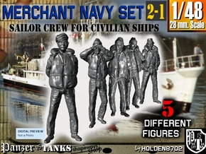 1-48 Merchant Navy Crew Set 2-1 in Smooth Fine Detail Plastic