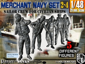 1-48 Merchant Navy Crew Set 2-4 in Smooth Fine Detail Plastic