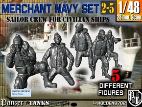1-48 Merchant Navy Crew Set 2-5 in Smooth Fine Detail Plastic