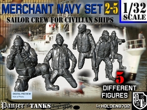 1-32 Merchant Navy Crew Set 2-5 in Smooth Fine Detail Plastic