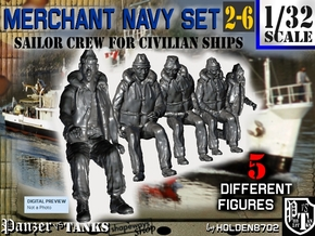 1-32 Merchant Navy Crew Set 2-6 in Smooth Fine Detail Plastic