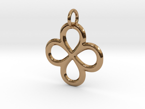 Dual Infinity Flower Pendant in Polished Brass