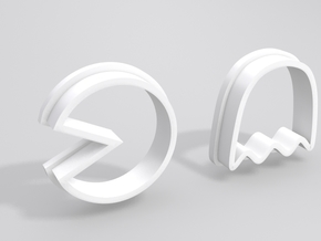 Pacman Cookie Cutter Set in White Processed Versatile Plastic