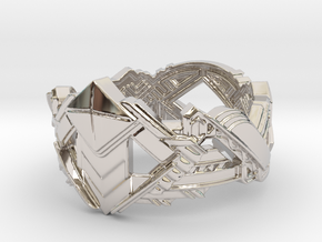 Art Deco Ring #1 in Rhodium Plated Brass: 5 / 49