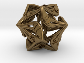 Countdown Curlicue 20-Sided Dice (alternate) in Natural Bronze