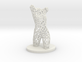 Dancer Torso 01 Voronoi Style in White Natural Versatile Plastic