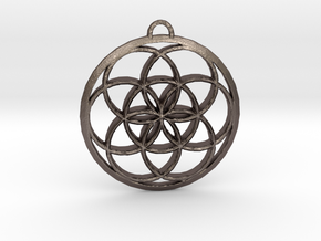 Seed Of Life in Polished Bronzed Silver Steel: Small