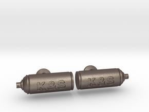 Spray Paint Can Cufflinks - Custom in Polished Bronzed Silver Steel