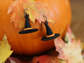 Witch's Hat Earrings - Paired in Black Natural Versatile Plastic