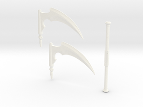 MEFStaffScytheBlades in White Strong & Flexible Polished