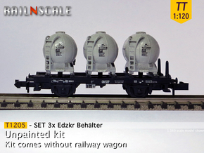 SET 3x Edzkr 571 Behälter (Tillig) (TT 1:120) in Smooth Fine Detail Plastic