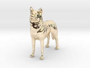 1/24 or G scale Siberian Husky Male Standing in 14K Yellow Gold