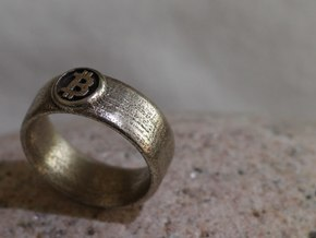 Bitcoin Ring (BTC) - Size 8.5 (U.S. 18.54mm dia) in Polished Bronzed Silver Steel