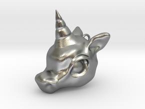 Unicorn Head in Natural Silver