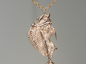 Littlehead Porgy Fish Skeleton Pendant in Natural Brass