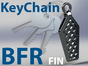 BigFrickingRocket- BFR Grid Fin KeyChain in Polished Bronzed Silver Steel