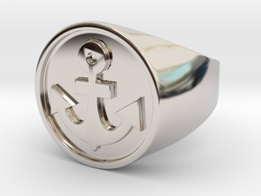 Anchor Band S. -  Signet Ring in Rhodium Plated Brass: 7.5 / 55.5