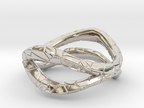 Dual Modern Ring in Rhodium Plated Brass: 5 / 49