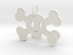 Cute Skull With Bones Pendant Charm in White Natural Versatile Plastic