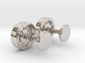 Formula 1 race wheel cufflinks in Rhodium Plated