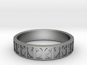 Fractal Curve Ring 22mm in Natural Silver