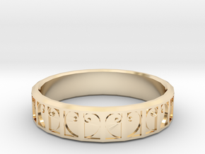 Fractal Curve Ring 22mm in 14k Gold Plated Brass