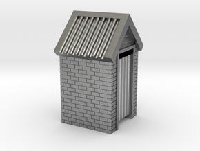N Scale Brick Outdoor Toilet Dunny 1:160 in Raw Silver