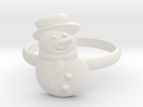Snowman Ring in White Natural Versatile Plastic: 4.5 / 47.75