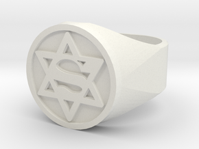 Ring US 12 Super Jew Signet  in White Natural Versatile Plastic