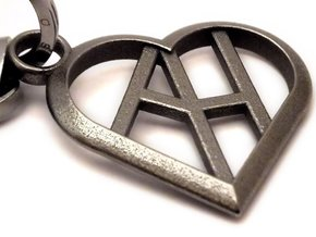 Heart of love keychain [customizable] in Polished Nickel Steel