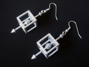 Physics Force-Body Diagram Earrings in White Processed Versatile Plastic