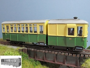 009 Sentinel Railcar Long Coach in White Processed Versatile Plastic