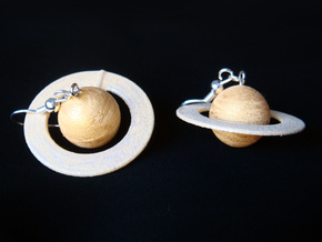 Saturn Planet Earrings for Astronomers and Astroph in White Natural Versatile Plastic