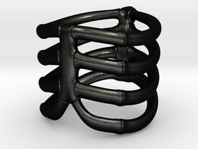 Thorsten 4 Rib - Ring in Matte Black Steel: 5 / 49