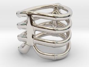 Thorsten 4 Rib - Ring in Rhodium Plated Brass: 5 / 49