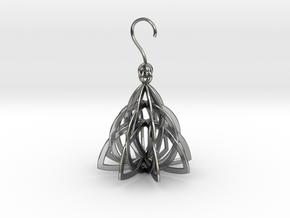 Celtic Knot Pyramid Earring in Polished Silver (Interlocking Parts)