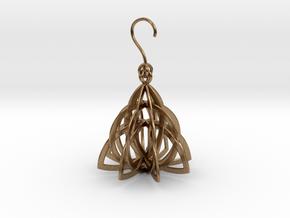 Celtic Knot Pyramid Earring in Interlocking Raw Brass