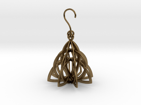 Celtic Knot Pyramid Earring in Natural Bronze (Interlocking Parts)
