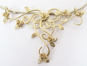 Romantic rose necklace  in Raw Brass
